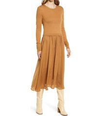 nordstrom mixed media long sleeve dress, size xx-small in tan dale at nordstrom