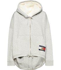hilfiger fleece hoodie ls hoodie trui grijs hilfiger collection