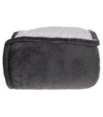 cobertor sherpa solteiro pele de carneiro matelassado extra quentinho chumbo - tessi