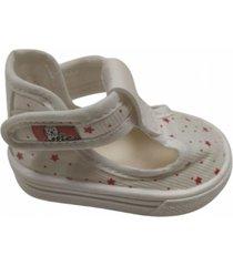 zapatilla blanca ollie  estrellas rojas
