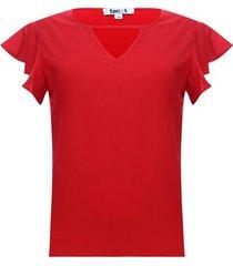 blusa unicolor color rojo, talla 6