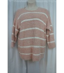 calvin klein woman sweater sz 0x blush creme striped fuzzy chenille knit scoop