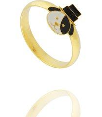 anel dona diva semi joias cachorrinho dourado