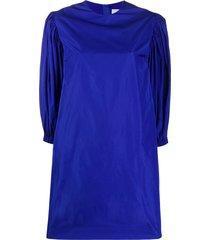 msgm puff sleeved taffeta dress - blue