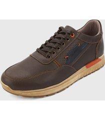 zapato casual café-azul san polos