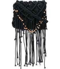 forte forte beaded-fringe crossbody bag - black