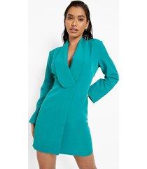 getailleerde blazer jurk met laag decolleté, turquoise