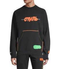 off-white men's printed sweatshirt - black orange - size s