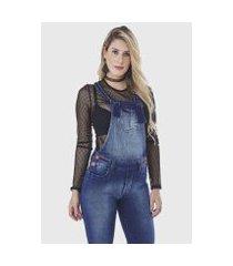 macacão hno jeans jardineira skinny feminino