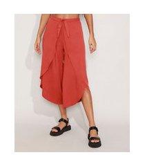 calça saída de praia pantacourt cintura alta com transpasse e amarração cobre