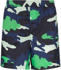 valentino camouflage print swim shorts - blue