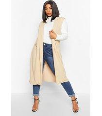 plus getailleerde mouwloze duster jas, steenrood
