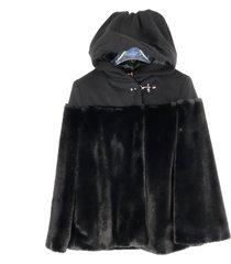 fay fake fur cape leather jacket