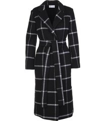 red valentino black double drap check coat