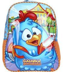 mochila escolar infantil xeryus galinha pintadinha hora de aprender