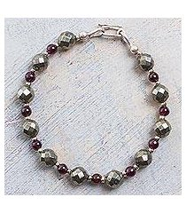 garnet and pyrite beaded bracelet, 'silvery love' (peru)