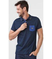 camisa polo fatal reta bolso azul-marinho