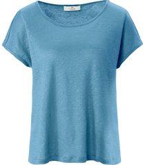 shirt 100% linnen ronde hals van peter hahn pure edition turquoise