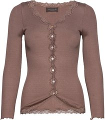 silk cardigan ls w/ lace gebreide trui cardigan bruin rosemunde