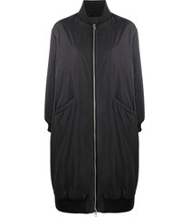 semicouture side-tie bomber coat - black