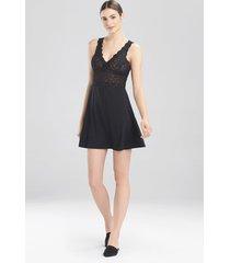 rose parfait essentials chemise pajamas, women's, black, silk, size l, josie natori