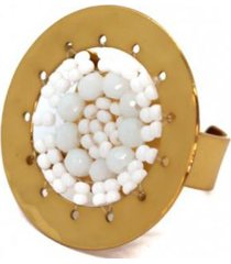 anillo imperial baño oro tejido mano blanco bijulovers