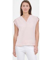 blusa mixed media rosa calvin klein