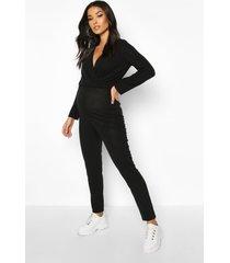 zwangerschaps lounge wikkel jumpsuit, zwart