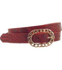 cinto rojo bohemia reptil con pasador y hebilla cadena dorada