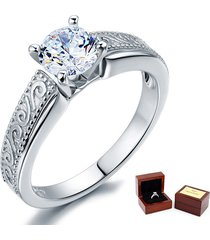 1 ct lab made diamond sterling 925 silver engagement promise ring vintage style
