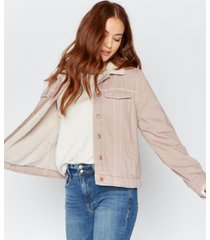 thread supply faux sherpa lined denim jacket