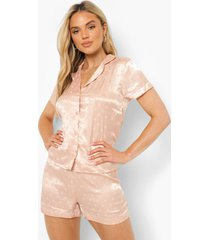 valentijns jaquard hartjes pyjama set met shorts, rose gold