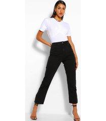 denim jeans met splitzoom, zwart