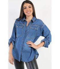 camisa de jeans denim azul night concept