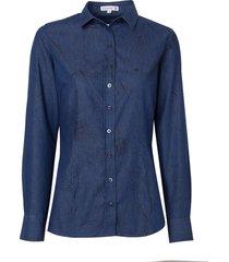 camisa dudalina jeans estampada feminina (jeans escuro, 56)