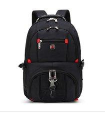 mochila mochila impermeable oxford de carga usb para hombre-negro