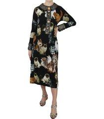 bengal cat crystal jacquard dress