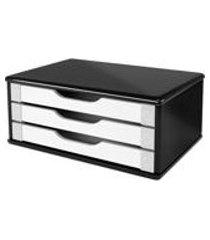 suporte de mesa para monitor 3 gavetas mdf preto e branco 1 un souza