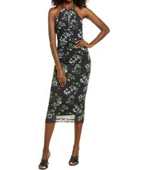 afrm kalina sleeveless dress, size small in spring noir bouquet at nordstrom