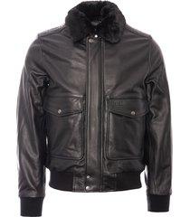 schott nyc lc5331x leather pilot jacket - antic black lc5331x