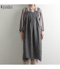 zanzea verano de las mujeres tamaño mangas de la correa del delantal dungaree vestido overallls plus (no incluye la camisa) -gris oscuro