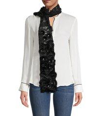 embellished silk and mink fur scarf