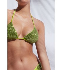 calzedonia triangle string swimsuit top cannes woman green size 2