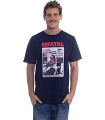 camiseta fatal estampada pigeon azul marinho