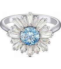 anillo sunshine, azul, baño de rodio 5537797