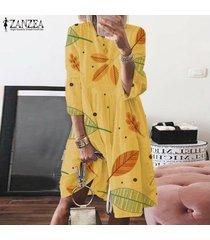 zanzea mujeres de cuello redondo impreso vestido a media pierna vestidos hasta la rodilla casual holgada señoras -amarillo
