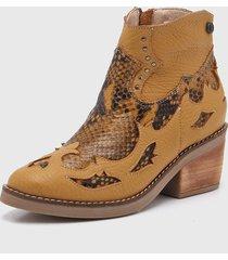 botas texana de cuero mostaza viamo nelly