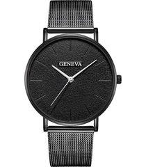 reloj ultrafino unisex acero pulso malla analogico 224-1 negro