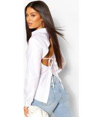 katoenen getailleerde poplin blouse met open rug, white