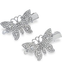 inc 2-pc. silver-tone crystal butterfly hair clip set, created for macy's